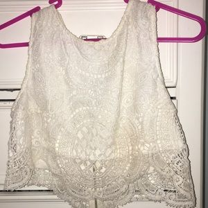 LF White Lace crop top